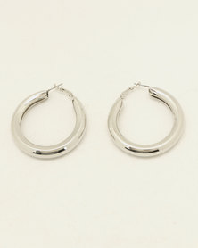 By Cara Chunky Hoop Earrings Silver-tone