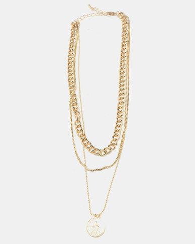Gold coin chain-link choker trip-set