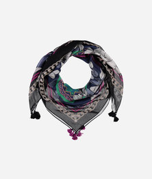 FRAAS Women Ornamental Floral Print Opulence Scarf Silk Square Multicolour Emerald