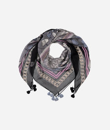 FRAAS Women Ornamental Floral Print Opulence Scarf Silk Square Multicolour Mid Grey