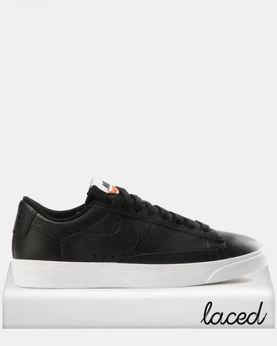 45651aacd4fea Nike Womens Blazer Low Leather Black Black-White-Gum Light Brown