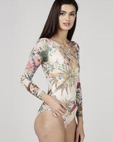 Utopia Mesh Bodysuit Cream Tropical Print