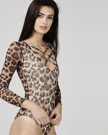 Utopia Mesh Bodysuit  Animal Print