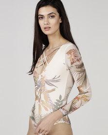 Utopia Mesh Bodysuit Cream Carnation Print