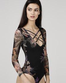 Utopia Mesh Bodysuit Black Tropical Print