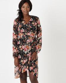 Utopia Black Floral Chiffon Mock Wrap Dress Black