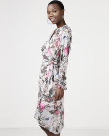 Utopia Chiffon Mock Wrap Dress Grey Floral