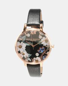 Olivia Burton Bejewelled Florals Watch Black/Rose Gold-tone