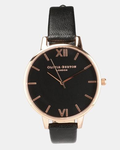 51220e4e4 Olivia Burton Black Dial Watch Black Rose Gold-tone | Zando