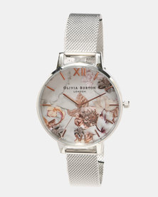 Olivia Burton Marble Florals Mesh Watch Rose Gold/ Silver-tone