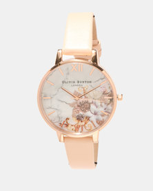 Olivia Burton Marble Florals Watch Nude Peach/Rose Gold-tone