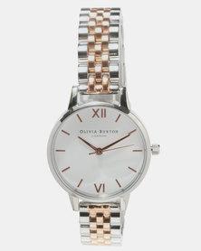 Olivia Burton White Dial Bracelet Watch Rose Gold-tone/Silver-tone