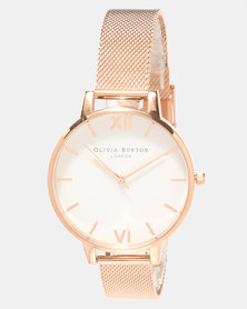 Olivia Burton White Dial Mesh Watch Rose Gold-tone