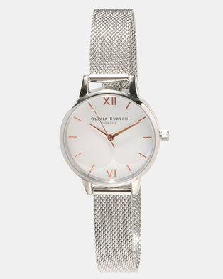 online retailer 3e16a 0eb2c Olivia Burton White Dial Mesh Watch Midi Rose Gold-tone Silver-tone