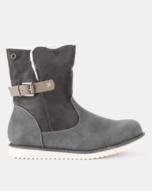 Bronx Wolf Flat Ankle Boots Grey