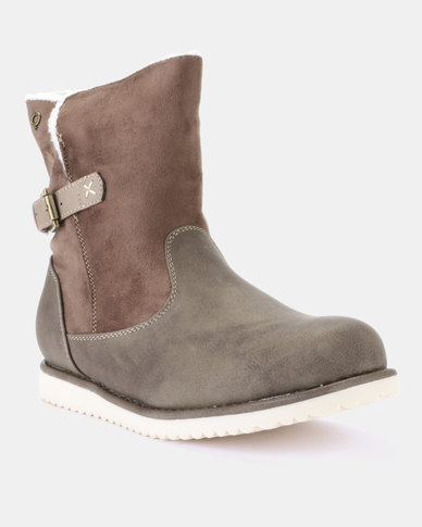 Bronx Wolf Flat Ankle Boots Choc