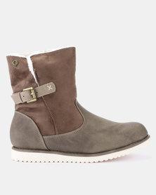 Bronx Wolf Flat Ankle Boots Choc