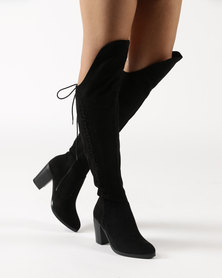 Bronx Pamela Block Heel Over The Knee Boots Black