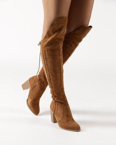 e6788aeae23 Bronx Pamela Block Heel Over The Knee Boots Tan