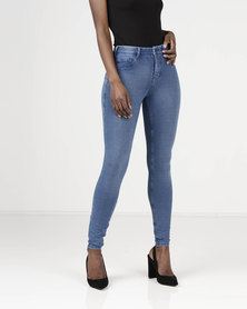 Sissy Boy Gym Knit 4 Way Stretch Jeggings Med Blue