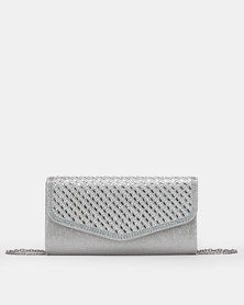 Miss Black Helen Clutch Bag Silver