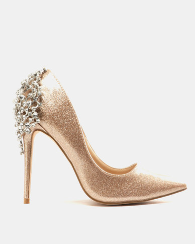 61f5f757922 Miss Black Choo Heeled Courts Gold