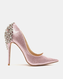 Miss Black Choo Heeled Courts Pink