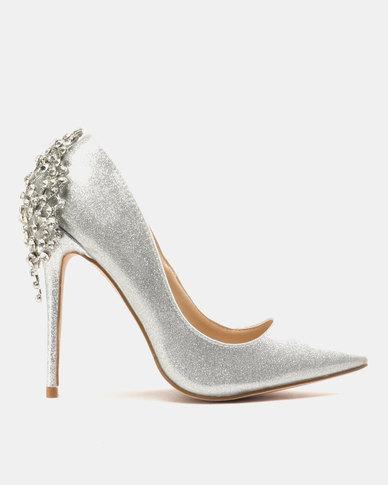 11cfe3e2170 Miss Black Choo Heeled Courts Silver