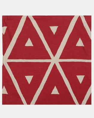 MARADADHI TEXTILES Geo Scatter Cushion Cover Red