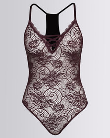 Sissy Boy Single All Over Lace Bodysuit With Velvet Detail Mauve