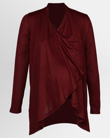Cherry Melon Waterfall Cardi Port Red