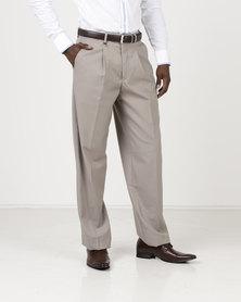 Crockett & Jones Formal One Pleat Trousers Brown