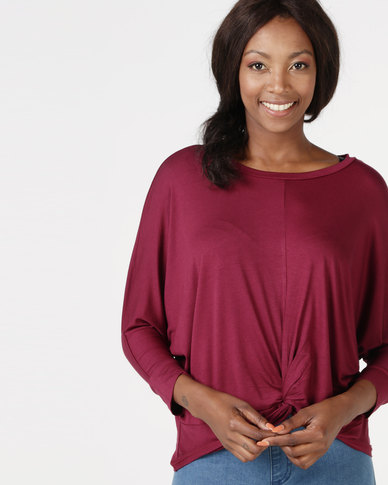 Utopia Knot Knit Top Burgundy