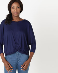 Utopia Knot Knit Top Navy