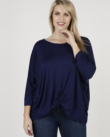 Utopia Plus Knot Knit Top Navy