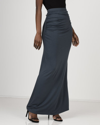 Utopia Maxi Skirt With Ruching Charcoal