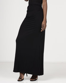 Utopia Maxi Skirt With Ruching Black
