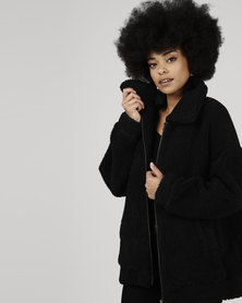 All About Eve Shearling Oversized Jacket Black