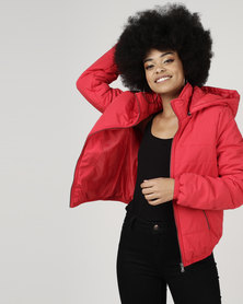 All About Eve Puffer Jacket With Hood Red