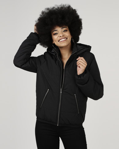 All About Eve Puffer Jacket With Hood Black