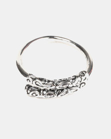 Lily & Rose Adjustable Aztec Design Ring Silver-tone