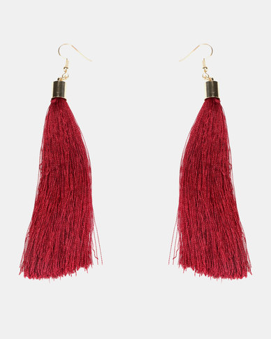 1f040ce4b Lily & Rose Tassel Earrings Deep Red | Zando