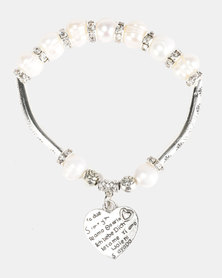 Lily & Rose Love Beaded Bracelet White and Silver-tone