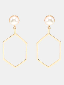 Lily & Rose Hexagon Hoop Earrings Gold-tone