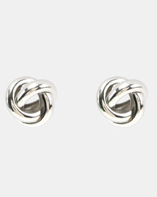 Lily & Rose Simple Knotted Stud Earrings Silver-tone