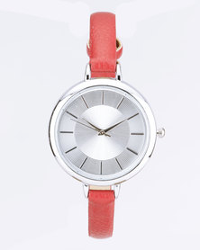 Digitime Classic Strapped Watch Red