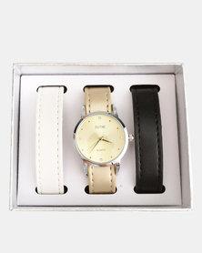 Digitime Trio Interchangeable Strap Watch Set-Silver