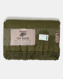Aranda Medium Top Suede Fringed Throw Green