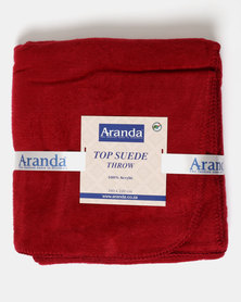 Aranda Large Top Suede Stitched Throw Red