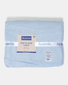 Aranda Large Top Suede Stitched Throw Blue